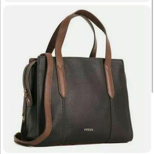 Fossil Sara Leather Satchel Crossbody Shoulder Black & Brown Handbag Tote Bag